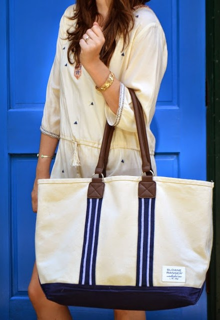The Breakers Dress, Pomp and Circumstance Boutique Houston, All for Color Striped Hat, Sloane Ranger Boat Tote, Houston Fashion Blogger, The Lone Star Looking Glass, Boho Cream Tunic Dress