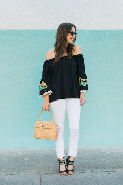 black off the shoulder embroidered top, jess lea boutique, summer daze top, black embroidered top, j mclaughlin picnic satchel, francescas black latigo heels