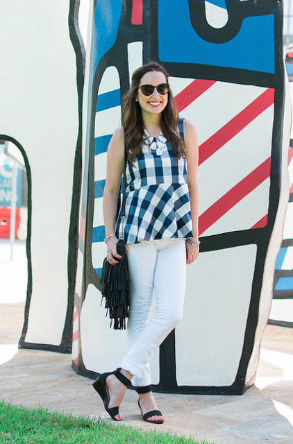 anthropologie gingham peplum top, gingham top, gingham peplum top, checked poplin peplum top, anthropologie checked poplin peplum top, peplum and white jeans, the lone star looking glass, gingham peplum, white jeans and a blue top