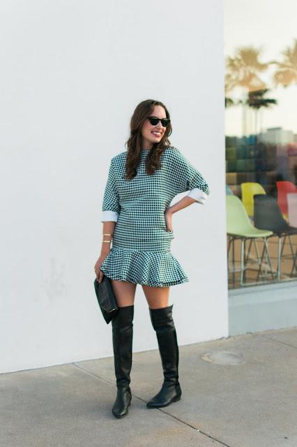 few moda polka dot two piece set, polka dot mini skirt and top, polka dot matching set, how to style a matching two piece set, how to style a two piece set, over the knee boots
