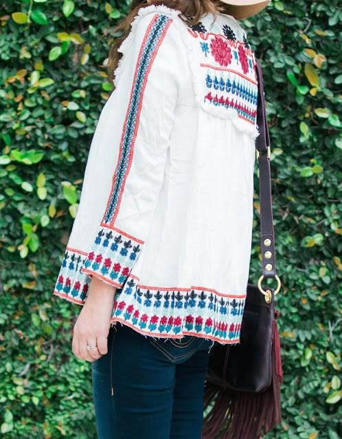 zara embroidered jacket, shein embroidered jacket, embroidered jacket, white and red embroidered jacket, sheinside, sheinside style blogger, sheinside embroidered top, zara white embroidered top