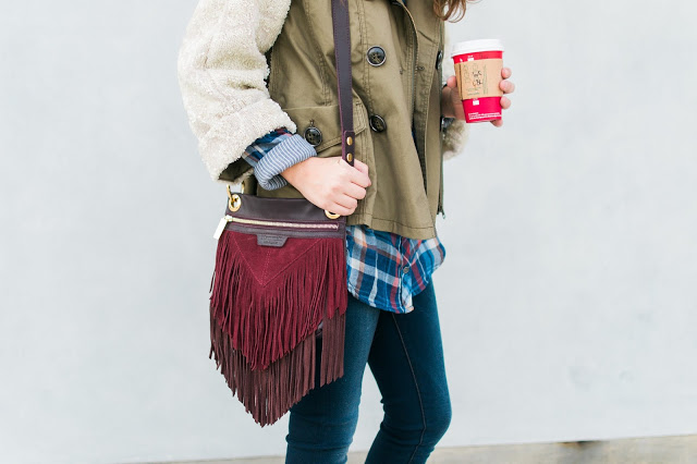 Hammitt Clarke Bag, Hammitt LA, Hammitt Fringe Bag, Hammitt Purse, fall layering, red fringe purse, anthropologie flannel top, anthropologie sequin jacket, anthropologie sequin anorak jacket