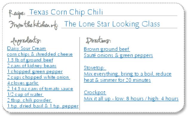 Texas Corn Chip Chili Recipe