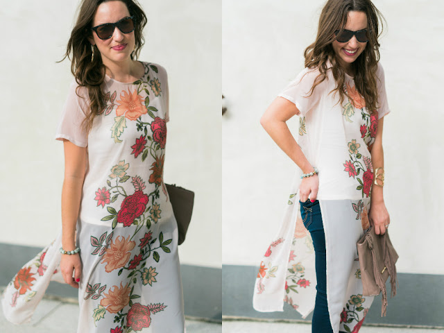 Vince Camuto Floral Tunic, pink floral sheer tunic top, elizabeth and james sunglasses, sheer floral tunic top, houston fashion blogger