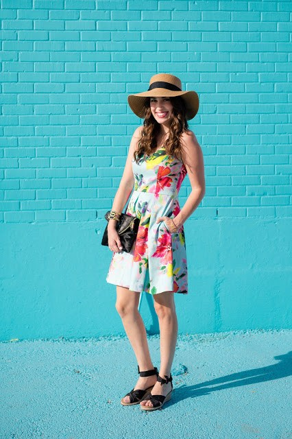 Trina Turk Aniya Dress, Trina Turk Printed Dresses, Trina Turk Spring 2016, Trina Turk Summer 2016, Trina Turk blue printed dress, houston fashion blogger, houston style blogger, ugg starla wedges, ugg boater hat, henri bendel debutante clutch, ishayra cuff
