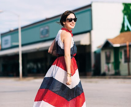 red white and blue maxi dress, anthropologie red white and blue maxi dress, high neck maxi dress,