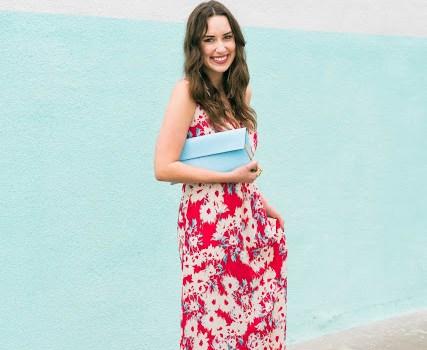 red floral anthropologie maxi dress, light blue henri bendel clutch, henri bendel clutch