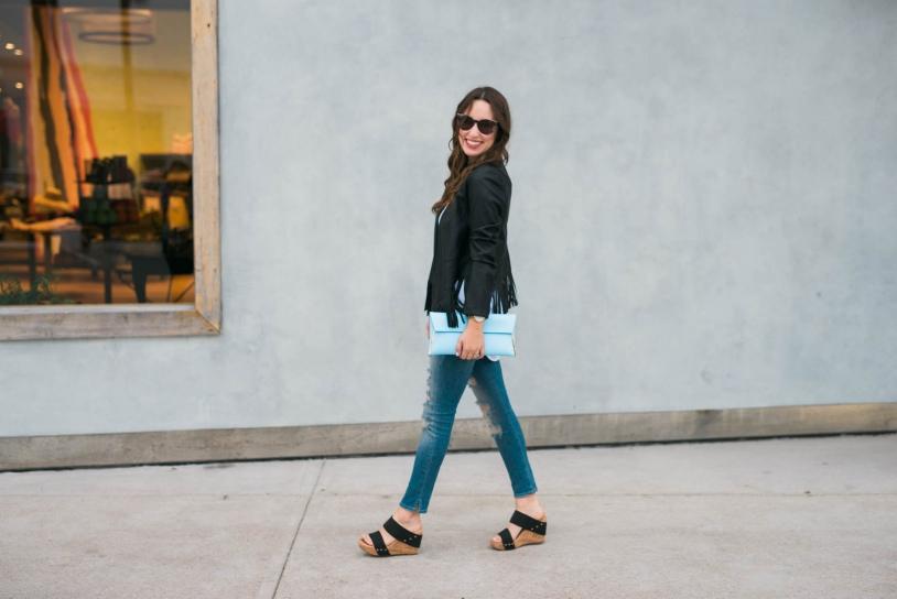 true religion super distressed skinny jeans, black fringe jacket, emilia sole society wedges,