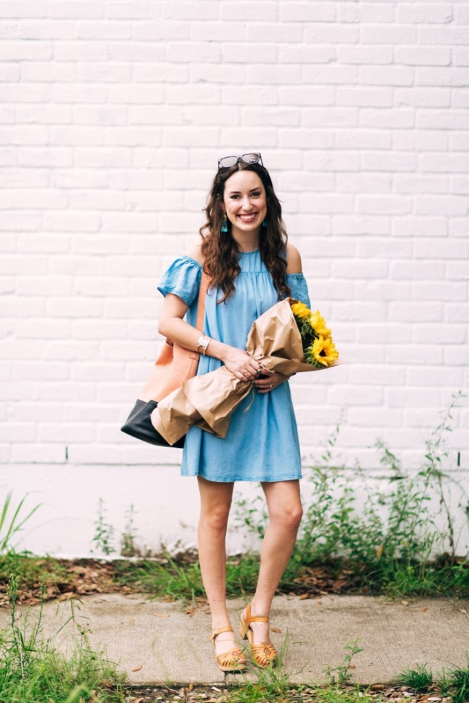 zara chambray sundress, swedish hasbeens huarache heels, chambray dresses and sunflowers, houston fashion blogger,