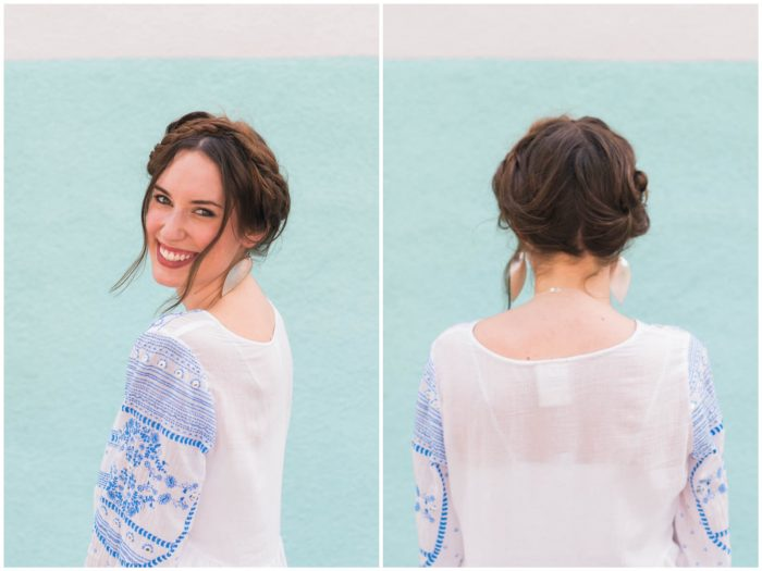 A super simple messy crown braid tutorial that takes less than 10 minutes, wearing Anthropologie's blue and white Meadowbrook Blouse