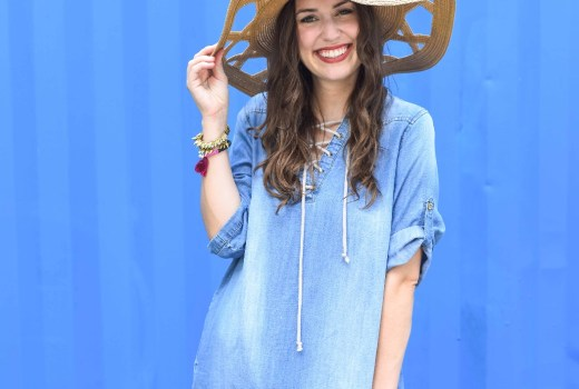 anthropologie chambray tie up dress, cute chambray dresses, how to wear chambray dresses, chambray shift dress, cutout floppy hat, modcloth straw hat