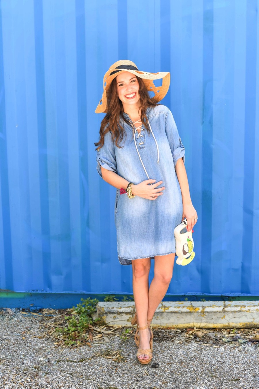 cute maternity outfits, chambray dress and straw hat