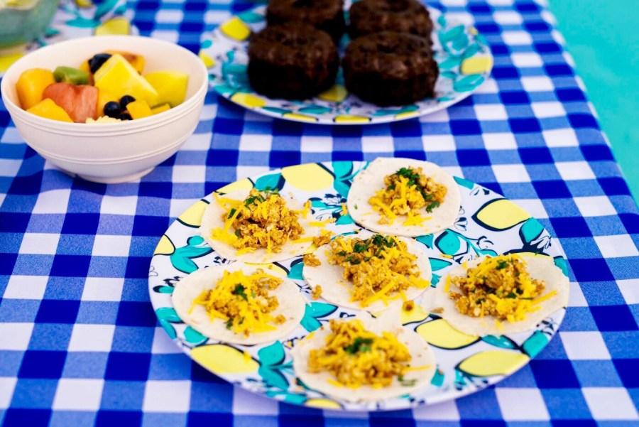 breakfast tacos, how to make breakfast tacos, mini breakfast taco recipe, draper james lemon plates