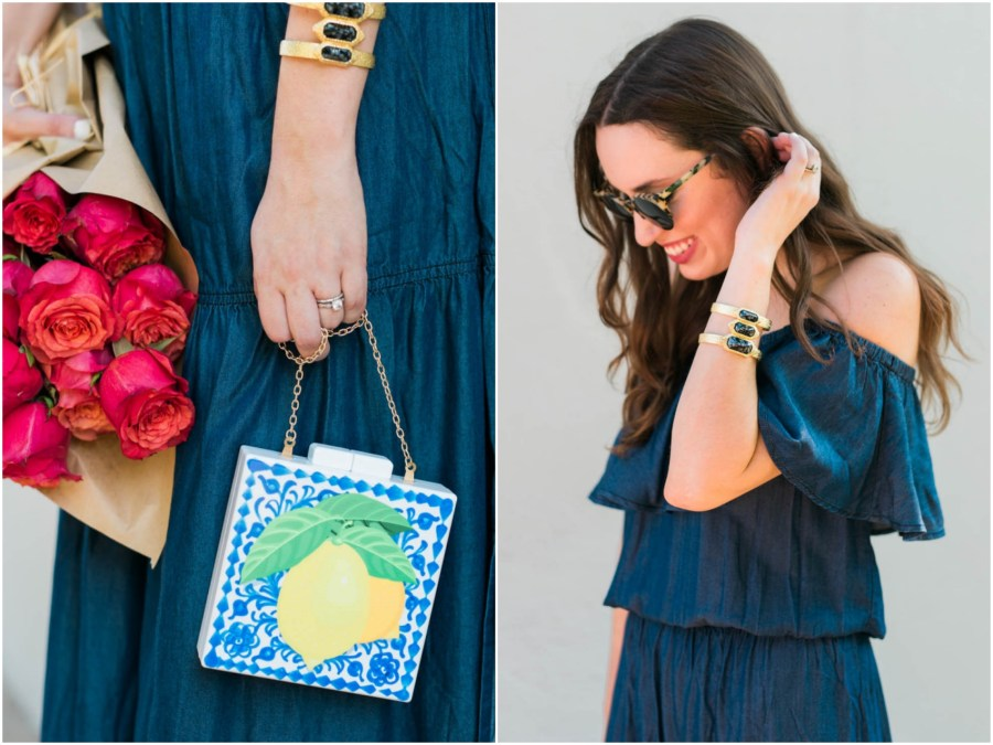 macy's navy blue off the shoulder maxi dress, inc concepts bohemian dresses, acrylic lemon clutch, lone star looking glass, houston blogger, houston fashion bloggers