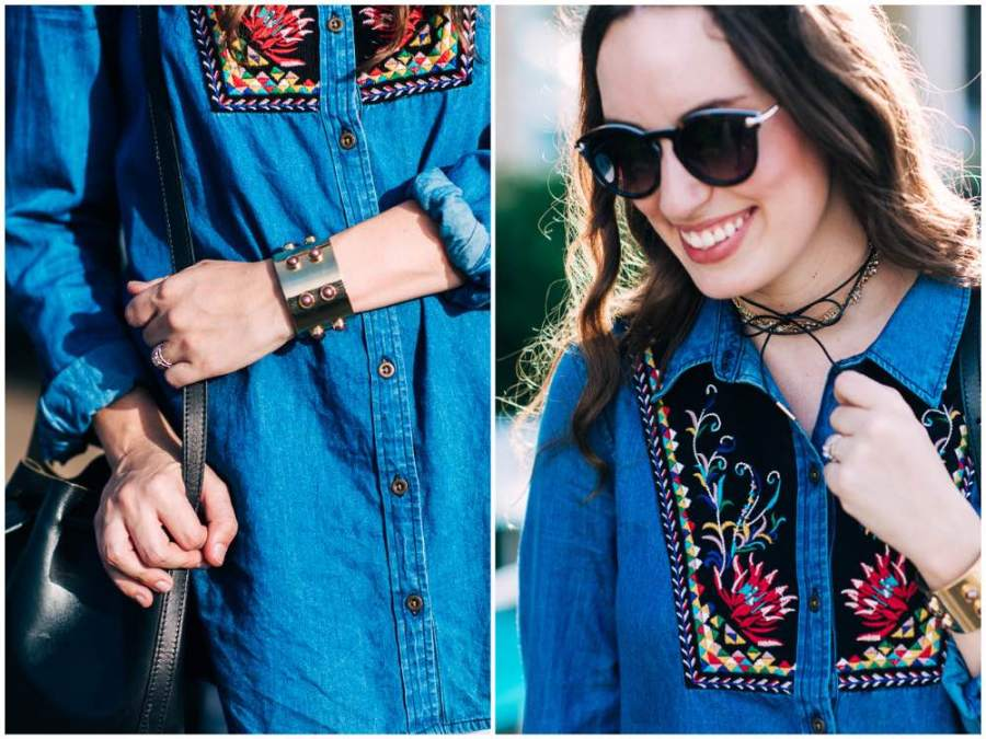 Houston fashion blogger Alice Kerley styles a baublebar chocker and cuff with Anthropologie's Murelet Embroidered Chambray Tunic.
