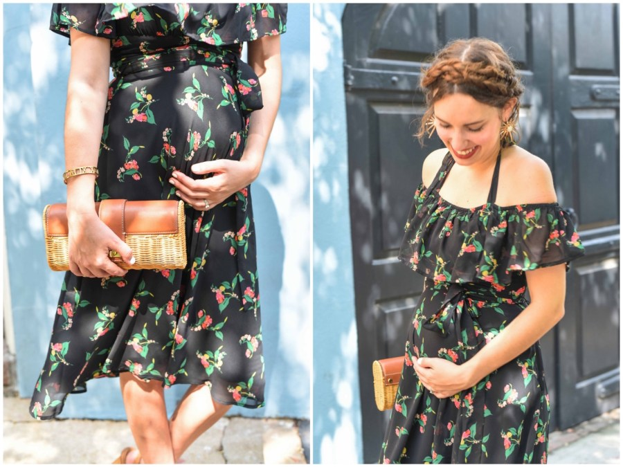 Styling Anthropologie's black floral off the shoulder Nigella Dress as a maternity dress.