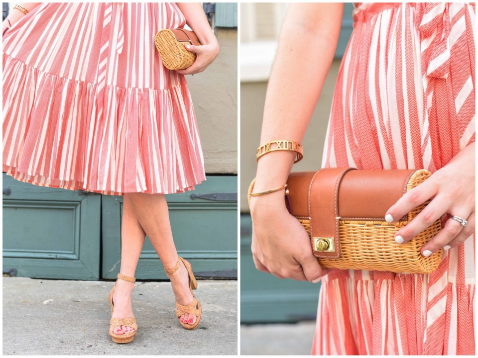 Accessorizing for summer with Elaine Turner cork heels and a J. McLaughlin wicker clutch.