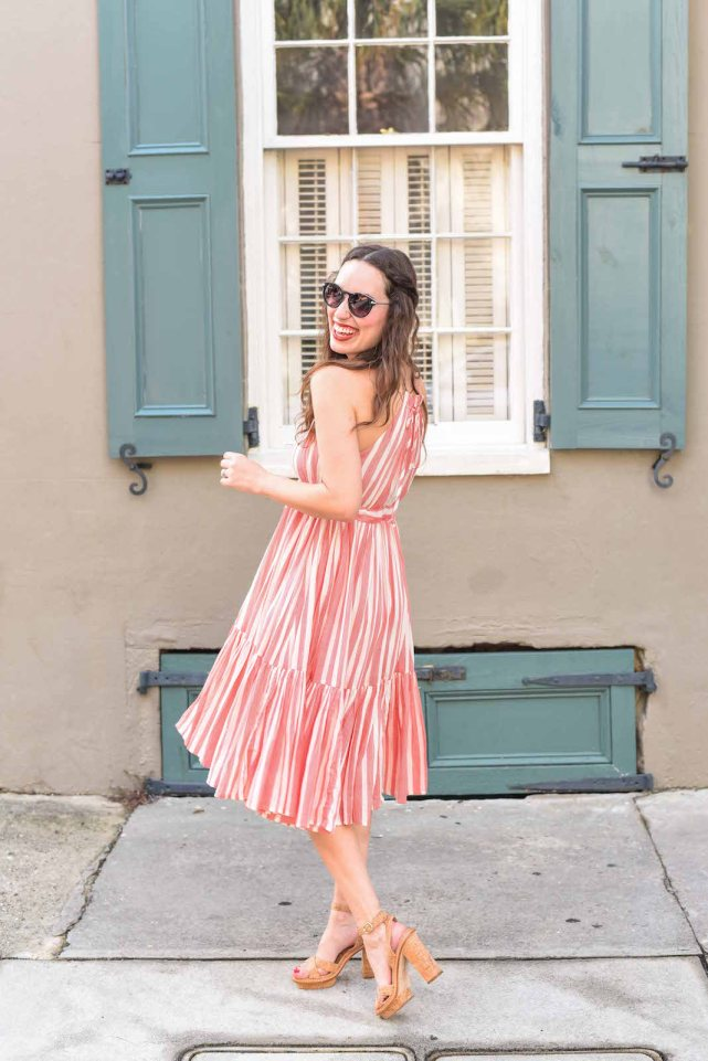 Party dress inspiration in an Anthropologie red and white striped halter dress