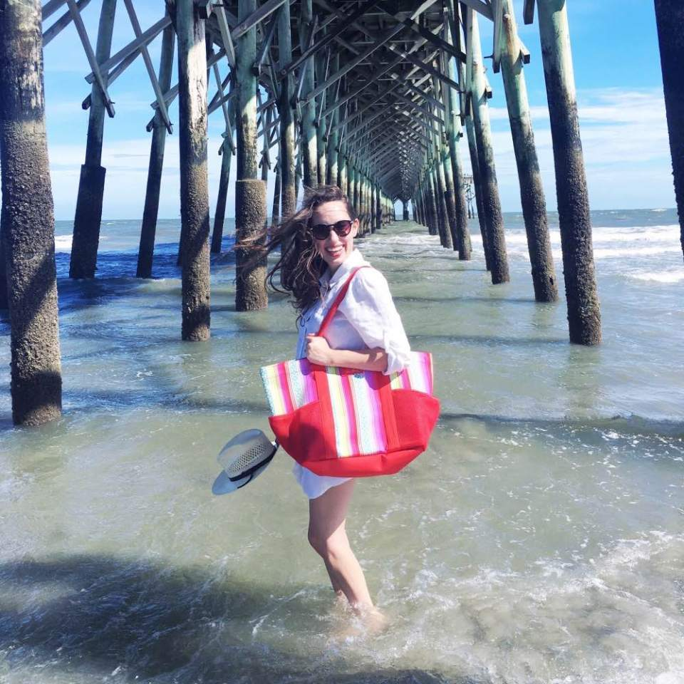 A beach day look with Vera Bradely at the Folly Beach Pier in South Carolina
