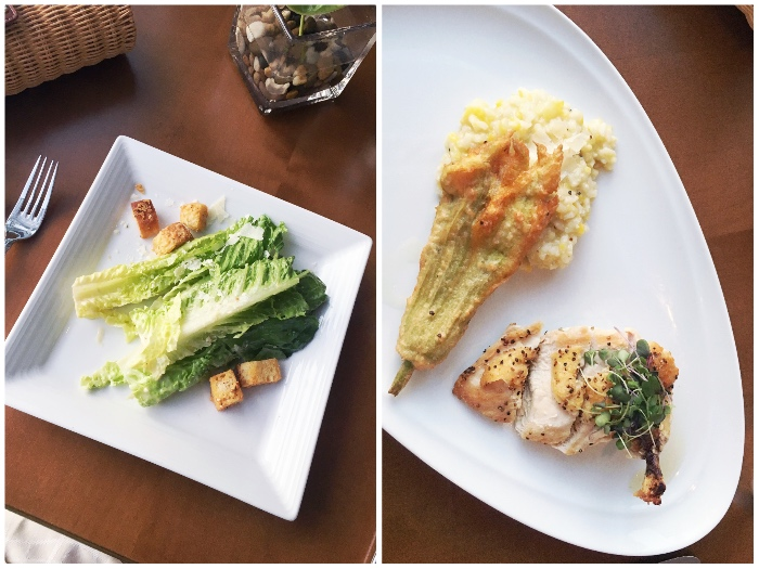 Caesar salad, baked chicken and squash for dinner from Current Restaurant at The Westin in The Woodlands, TX.