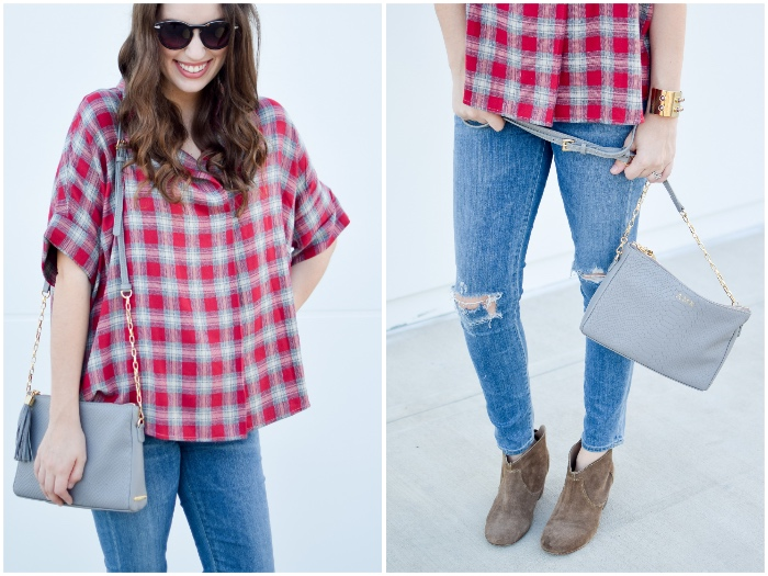 Houston Fashion Blogger Alice Kerley styles a simple fall transitional look with a Madewell red plaid shirt, distressed denim, and a gigi new york handbag.