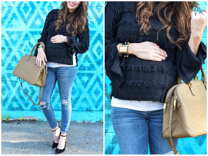 Houston Fashion Blogger Lone Star Looking Glass shares an easy maternity outfit in Yoana Baraschi's black fringed sweater with distressed citizen jeans and Henri Bendel's Ostrich Dome Satchel.