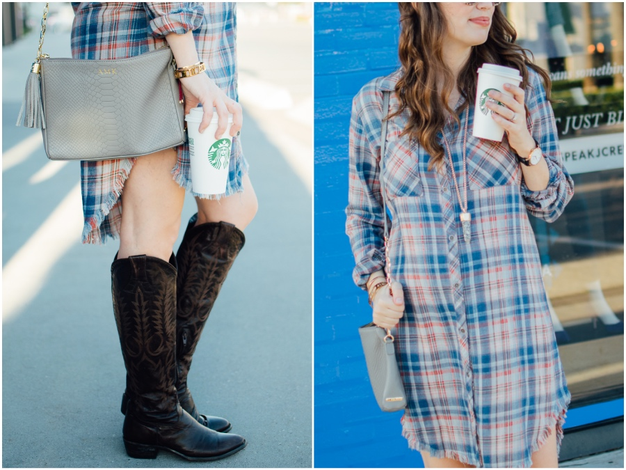 Alice Kerley styles Anthropologie's Plaid Buttondown Dress with tall Old Gringo Boots for Fall.