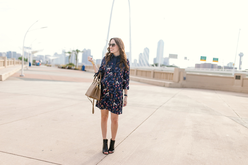Fashion Blogger Alice Kerley styles the Indian Garden Dress by See by Chloe with a Henri Bendel Satchel in Dallas, TX.