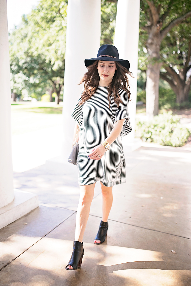 Lone Star Looking Glass styles a Rachel Comey striped dress and shares her 25 week baby bump update.