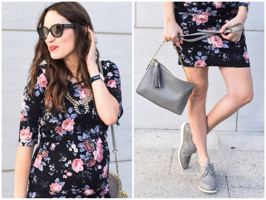 Houston fashion blogger Alice Kerley styles PinkBlush's black and floral fitted maternity dress with a gray gigi new york crossbody and gray cole hahn sneakers for fall.