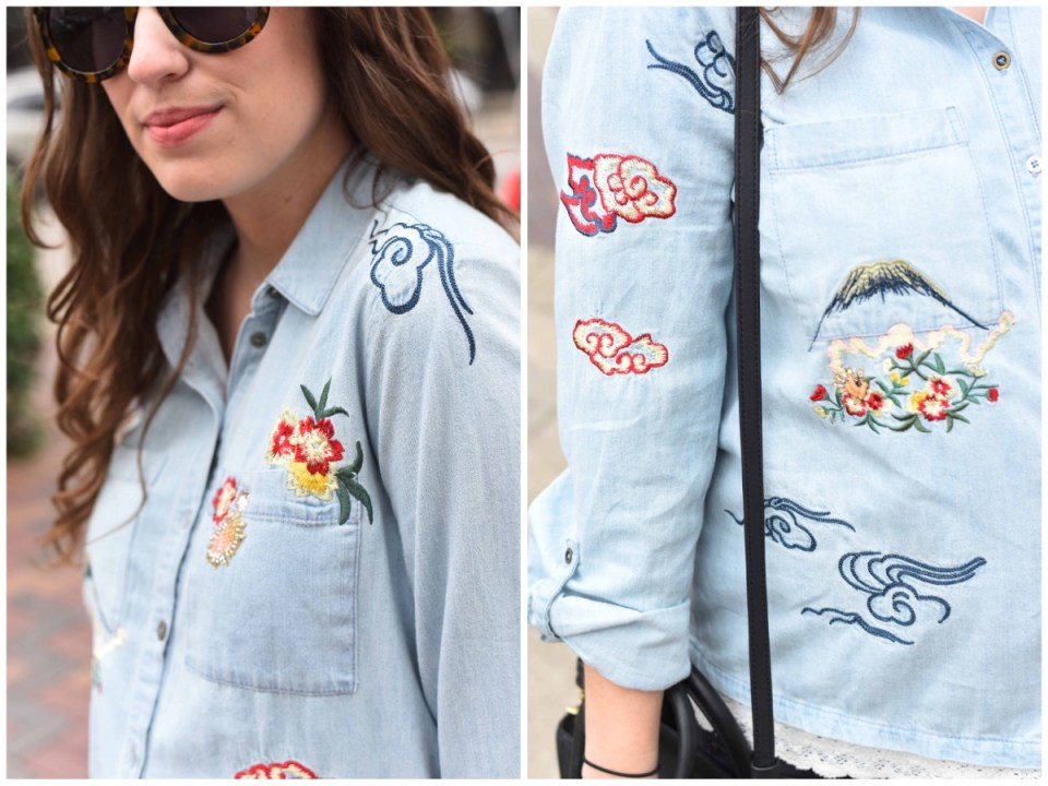 Anthropologie Embroidered Denim Isle Shirt, anthropologie embroidered button down, embroidered chambray shirt, the embroidered denim trend