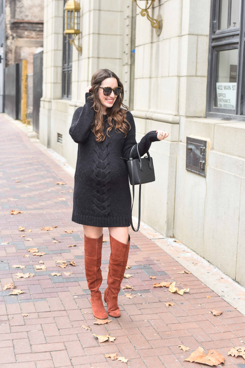 Houston fashion blogger styles a black French Connection sweater dress as a maternity dress with Sole Society over the knee boots and a Dagne Dover handbag.