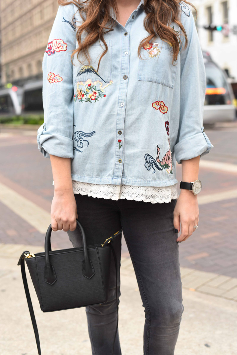 Anthropologie Embroidered Denim Buttondown Top