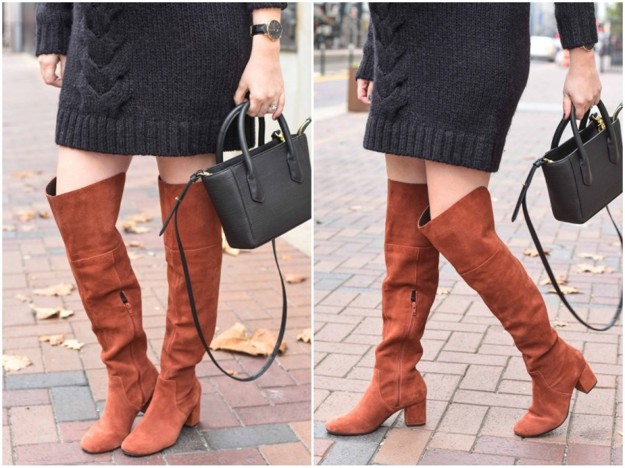 Houston fashion blogger styles Sole Society Leandra Over the Knee Boots in Rust with a Dagne Dover handbag.