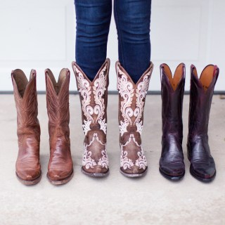 Red and brown Lucchese boots from Cavenders.