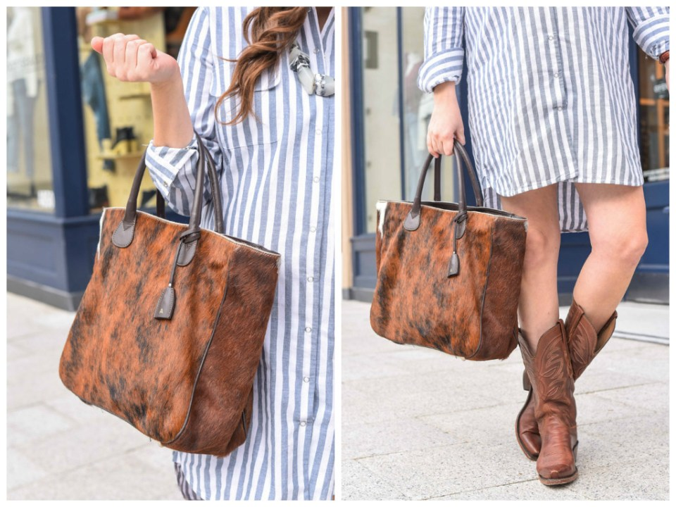Houston fashion blogger styles Mark and Graham's Telluride Cowhide Bag.