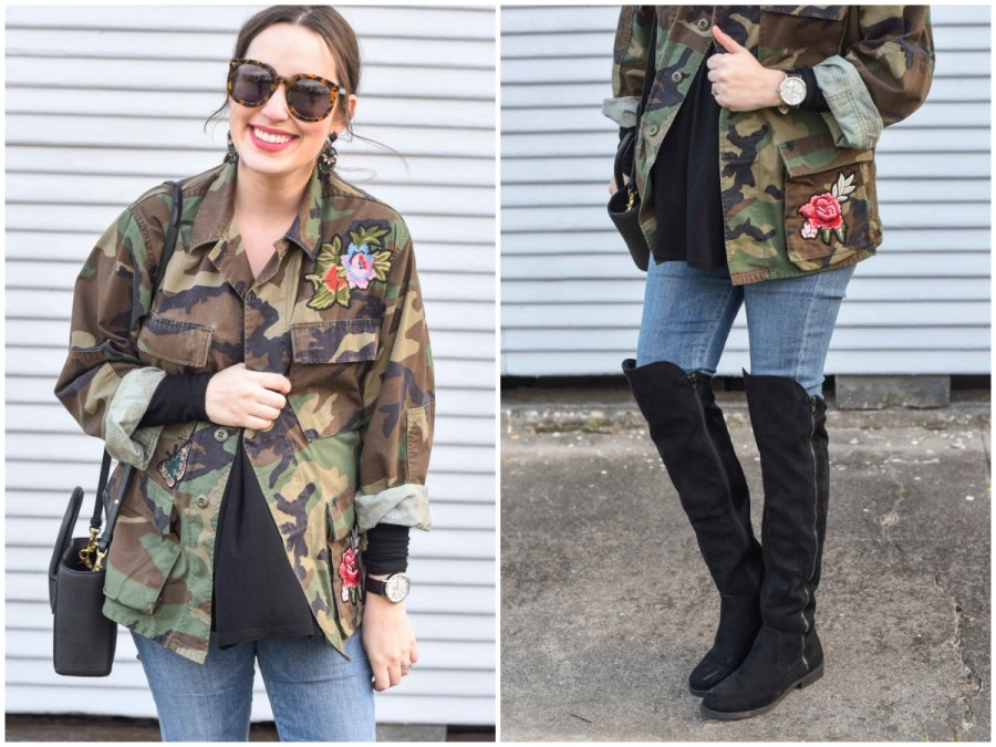 Houston fashion blogger styles an embroidered camo jacket from Planet Blue with a messy bridget bardot updo and bauble bar black earrings.