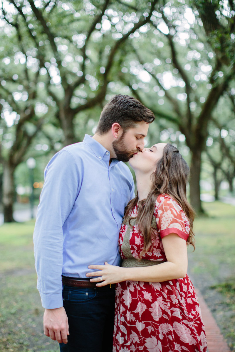 Houston, Texas maternity photo shoot, wearing a red maxi dress in the Museum District.