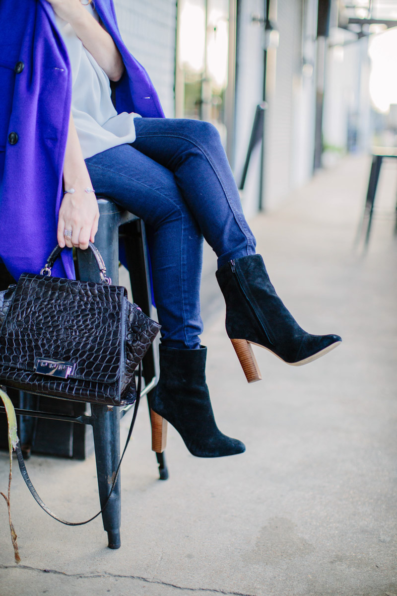 Houston fashion blogger styles a black Zac Posen handbag with Sole Society ankle booties.