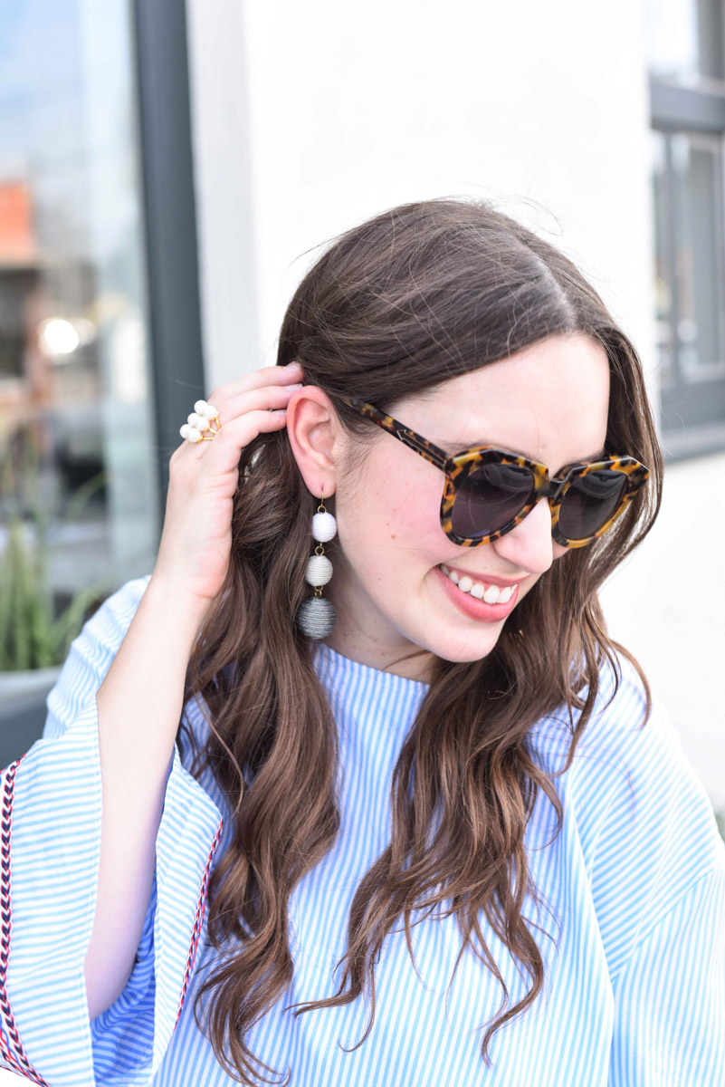 Houston fashion blogger styles Baublebar's crispin drops in gray.