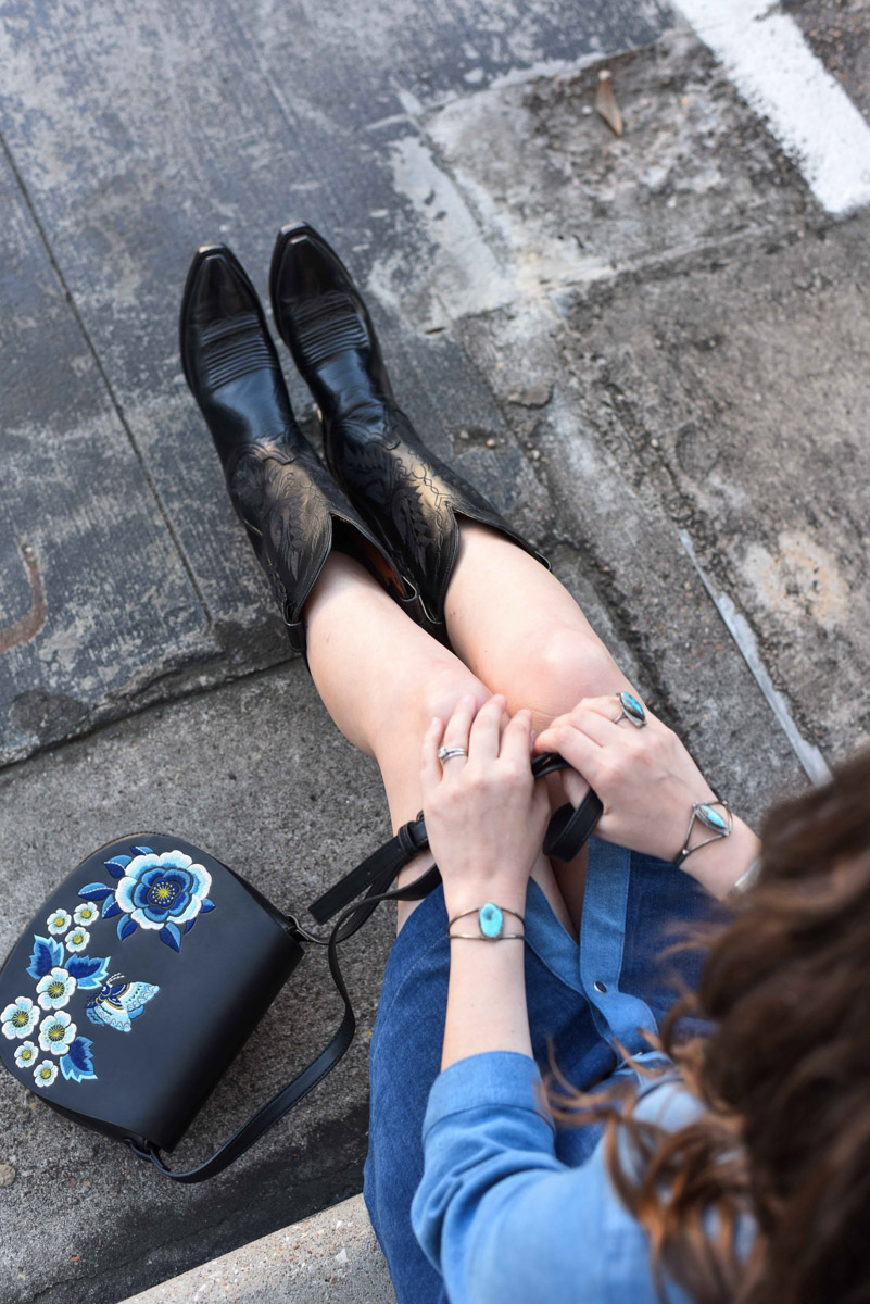 What to wear to rodeo: Black Lucchese Boots from Cavenders
