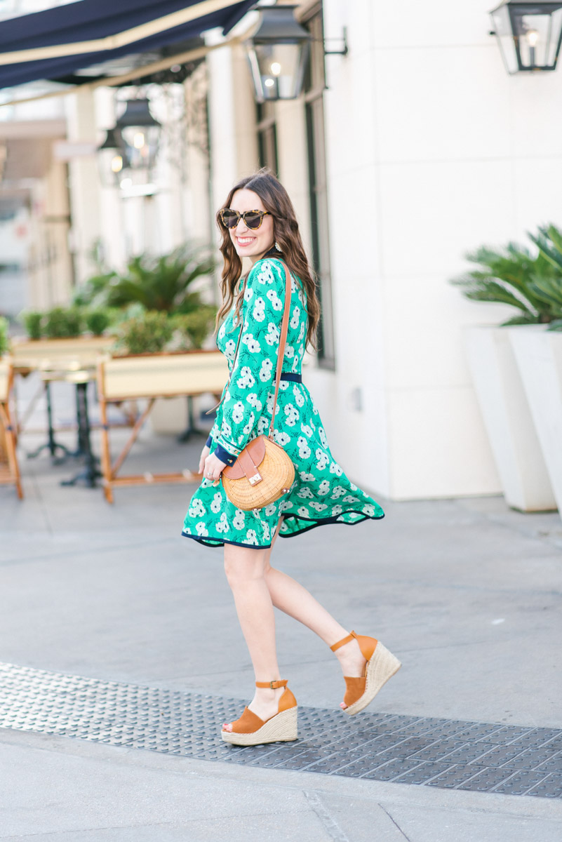 Houston blogger styles Draper James Hilltop Garden Shirt Dress in a green floral print.