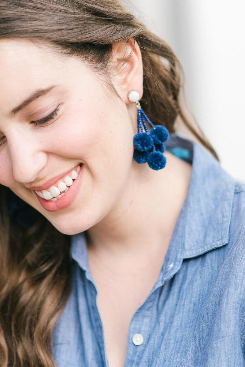 Baublebar blue pompom statement earrings.