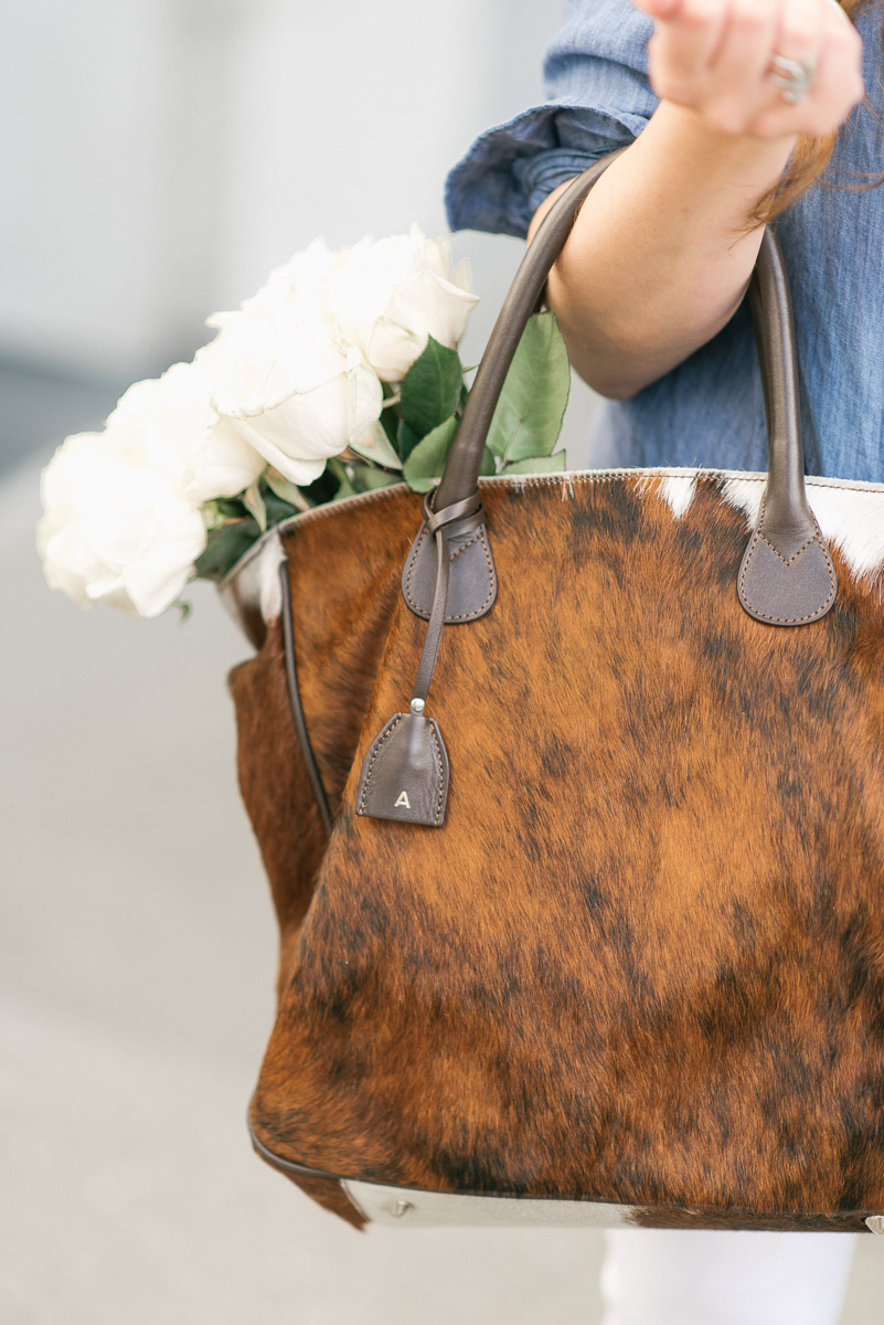 Mark and Graham cowhide tote bag