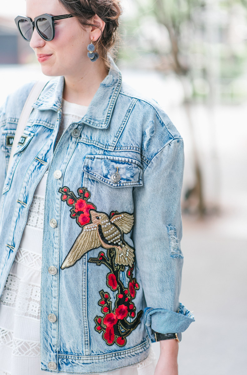 True Religion boyfriend jean jacket with a white lace anthropologie sundress.
