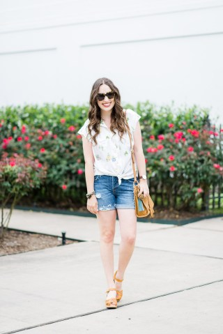 Houston blogger styles an easy summer look in an Anthropologie cactus button down, levi shorts, swedish hasbeens and a fossil handbag.