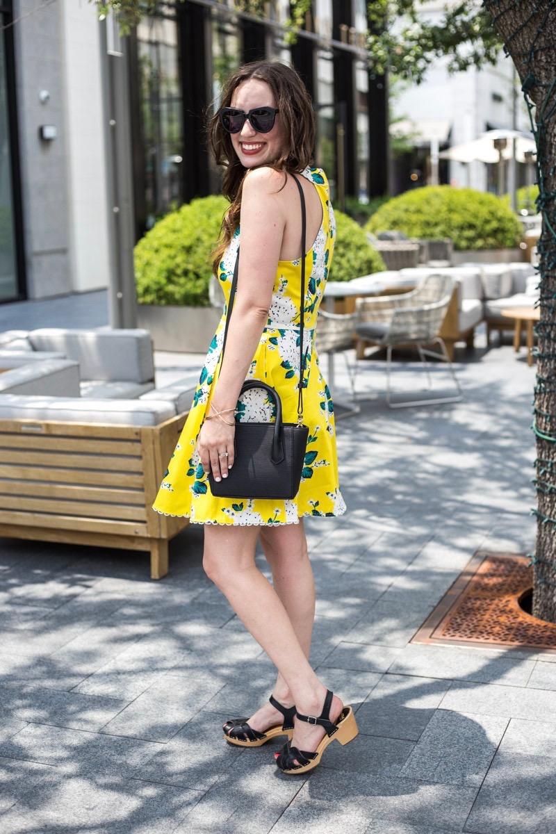 Draper James Hydrangea Row Payton Dress in yellow.