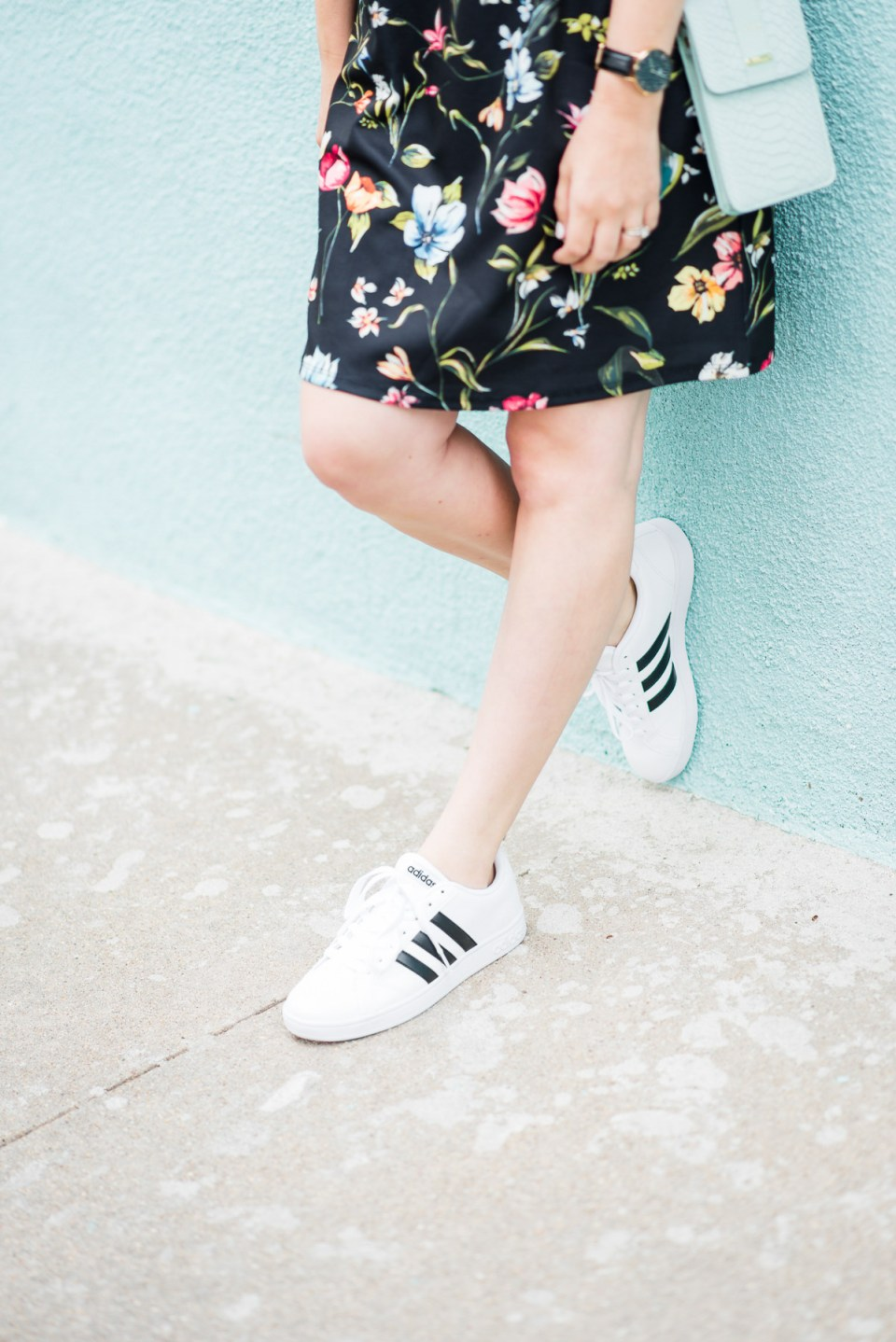 Floral_Shirt_Dress_Adidas_Sneakers-11