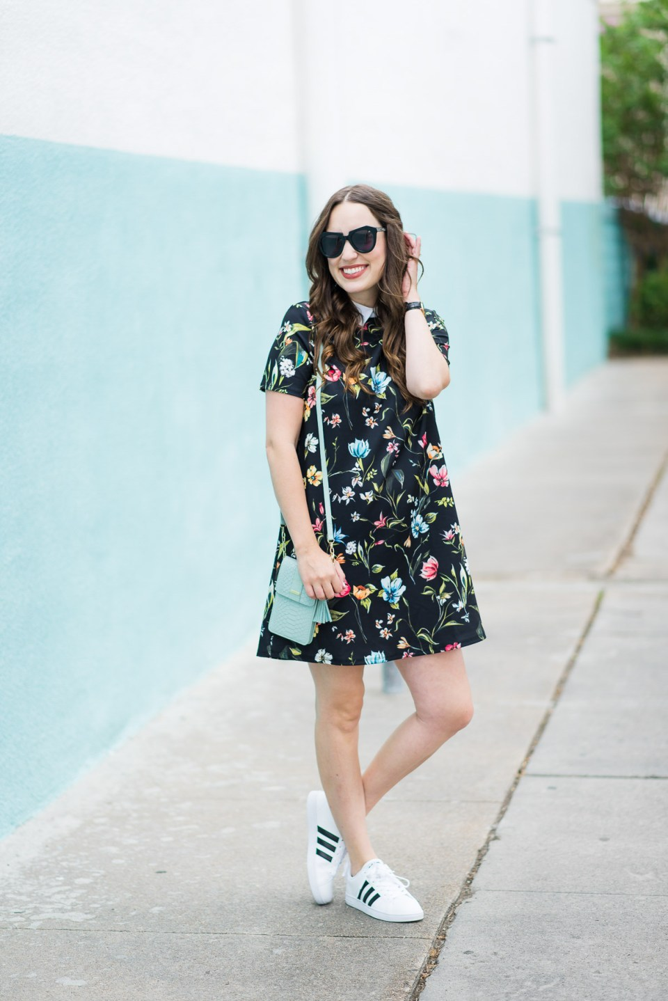 Floral_Shirt_Dress_Adidas_Sneakers-2