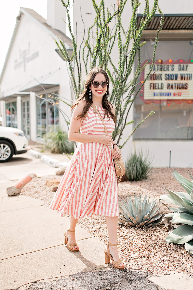 Eliza J Red striped dress styled with an Elaine Turner Shelly Bag in Cork.
